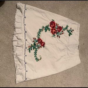 Necessary objects white skirt with floral design